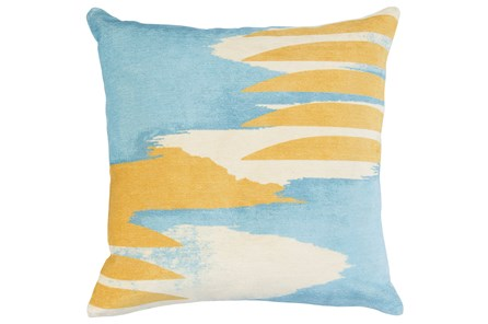 Accent Pillow-Blue & Yellow Printed Velvet 20X20