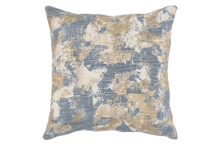 Accent Pillow-Steel Blue Abstract W/ Gold Accents 22X22