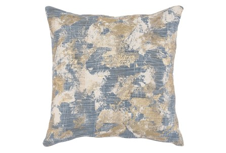 Accent Pillow-Steel Blue Abstract With Gold Accents 22X22 - Main