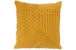 Accent Pillow-Yellow Velvet Asymetrical Pleats 20X20