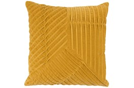 Accent Pillow-Yellow Velvet Asymetrical Pleats 20X20