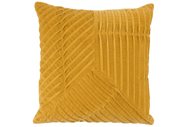 Accent Pillow-Yellow Velvet Asymetrical Pleats 20X20 - 360