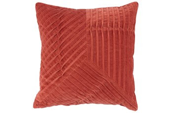 Accent Pillow-Persimmon Velvet Asymetrical Pleats 20X20
