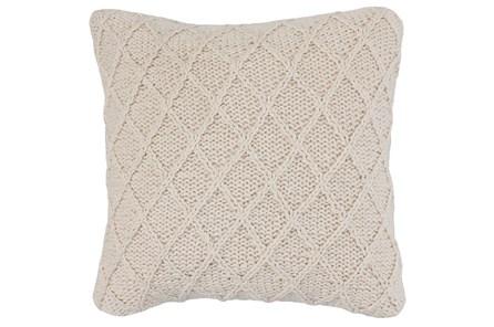 Accent Pillow-Ivory Cotton Diamond Knit 20X20
