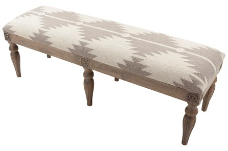 Grey Hand Woven Geo Bench - Main