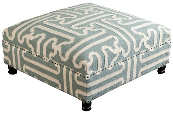 OTTOMAN-SAGE HAND WOVEN SQUARE TRIBAL PATTERN