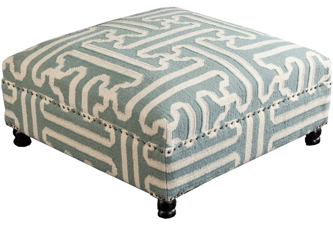 OTTOMAN-SAGE HAND WOVEN SQUARE TRIBAL PATTERN  - 360