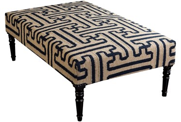 Navy Geo Pattern Hand Woven Bench