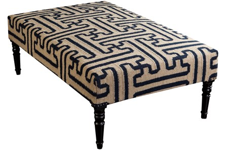 Navy Geo Pattern Hand Woven Bench - Main