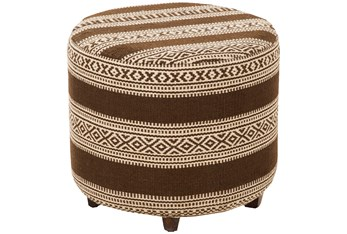Brown Hand Woven Geo Stripe Ottoman