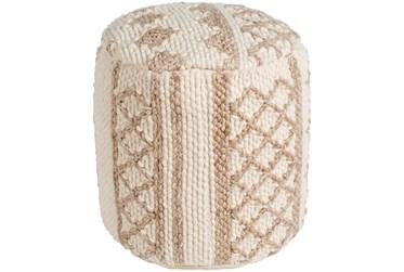 Pouf-White + Tan Hand Woven