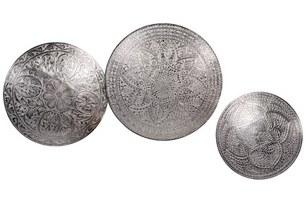 DECORATIVE ACCENT-SET OF 3 METAL PLATES