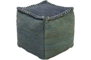 POUF-GREEN AND BLUE OVERSTITCH