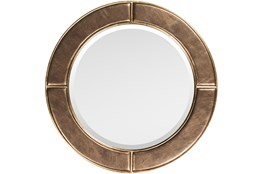 WALL MIRROR-BRONZE FAUX LEATHER 32X32