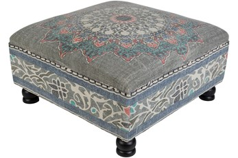 OTTOMAN-SQUARE BLUE MULTI PATTERN