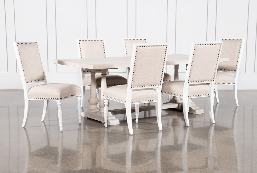 Leon 7 Piece Dining Set With Candice II Upholstered Chairs