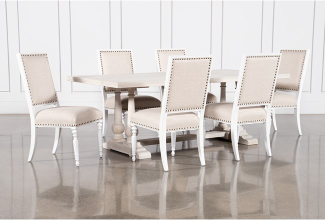 Leon 7 Piece Dining Set With Candice II Upholstered Chairs - 360