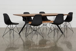 Weaver II 7 Piece Dining Set With Alexa Black Chairs