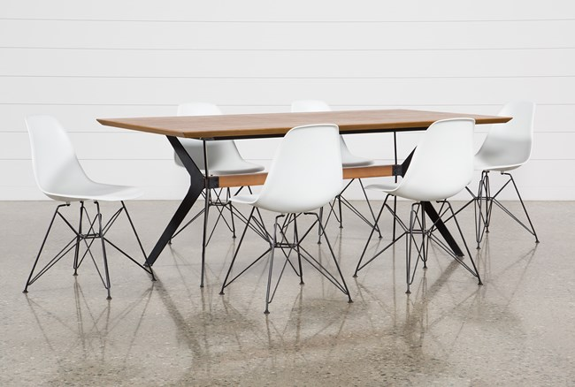 Weaver II 7 Piece Dining Set With Alexa White Chairs - 360