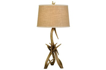 Table Lamp-Antler + Burlap