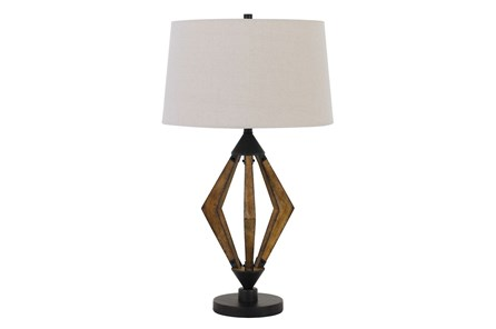 Table Lamp-Diamond Wood + Metal