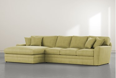 """Prestige Foam Green 2 Piece 140"""" Sectional With Left Arm Facing Oversized Chaise"""