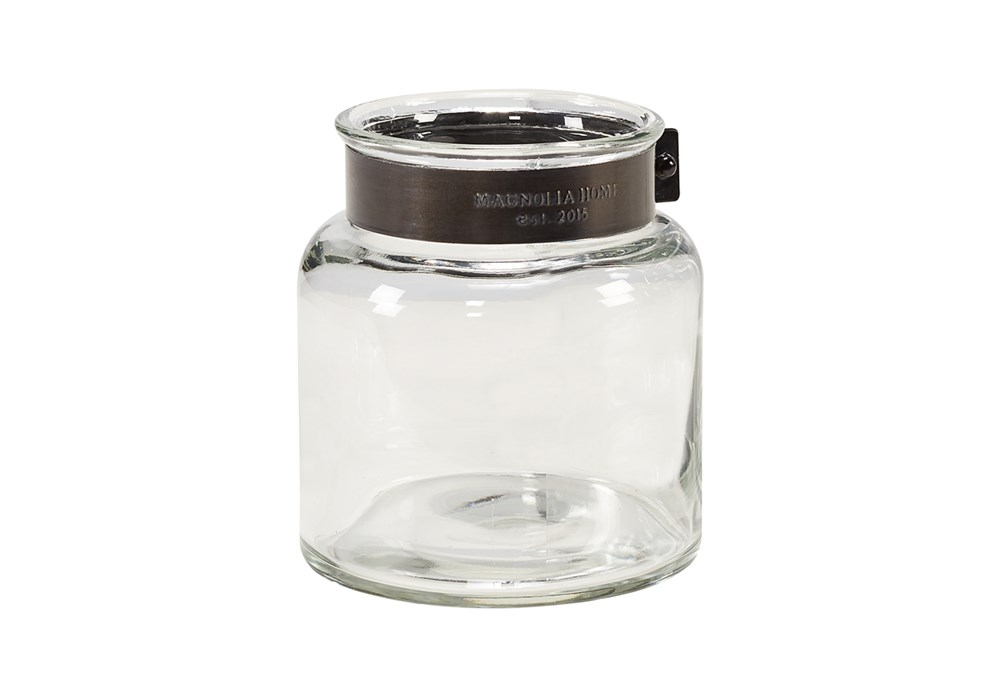 Magnolia Home Glass Jar Vase With Metal Ring Small