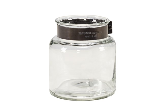 Magnolia Home Glass Jar Vase With Metal Ring Small - 360