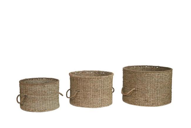Magnolia Home Seagrass Lora Baskets Round Set Of 3  - 360
