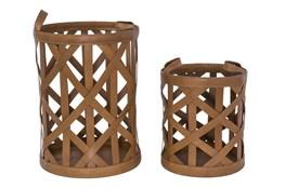 Magnolia Home Leather Diagonal Strap Baskets Set Of 2