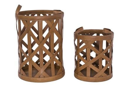 Magnolia Home Leather Diagonal Strap Baskets Set Of 2 - Main