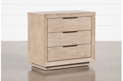 """Pierce Natural 3-Drawer 30"""" Nightstand With USB and Power Outlets"""