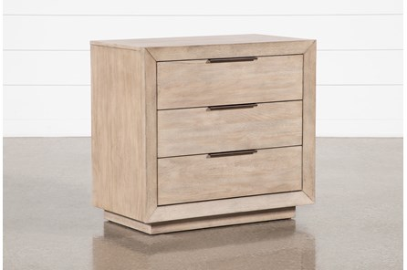 Pierce Natural 3-Drawer Nightstand With USB and Power Outlets