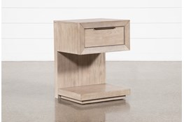 Pierce Natural 1-Drawer Nightstand With USB and Power Outlets