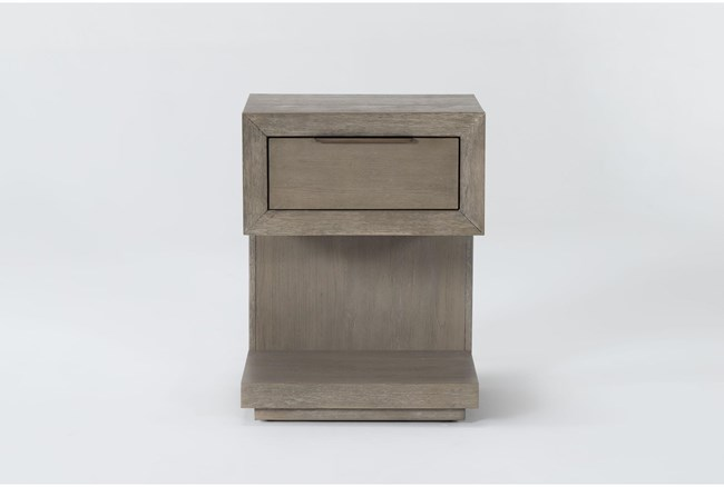 """Pierce Natural 1-Drawer 29"""" Nightstand With USB and Power Outlets - 360"""