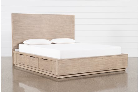 Pierce Natural Eastern King Panel Bed With Storage