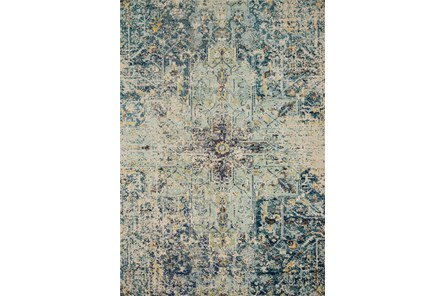 96X132 Rug-Distressed Center Damask Aqua/Navy