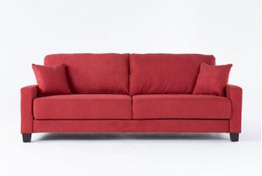 "Pascal Red 91"" Queen Convertible Sofa Sleeper"
