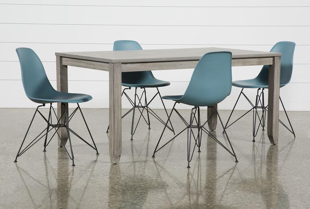Matias Grey 5 Piece Dining Set With Alexa Reef Chairs