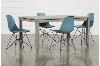 Matias Grey 5 Piece Dining Set With Alexa Reef Chairs