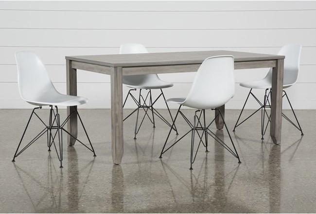Matias Grey 5 Piece Dining Set With Alexa White Chairs - 360