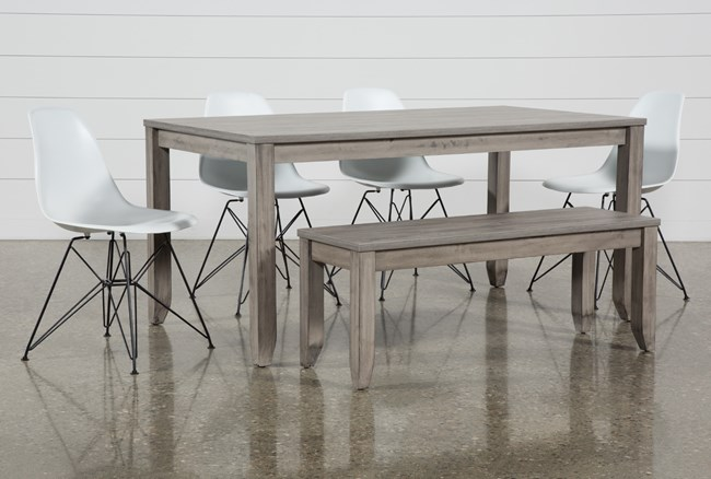 Matias Grey 6 Piece Dining Set With Alexa White Chairs - 360