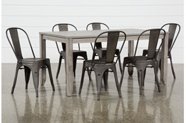 Matias Grey 7 Piece Dining Set With Delta Bronze Chairs