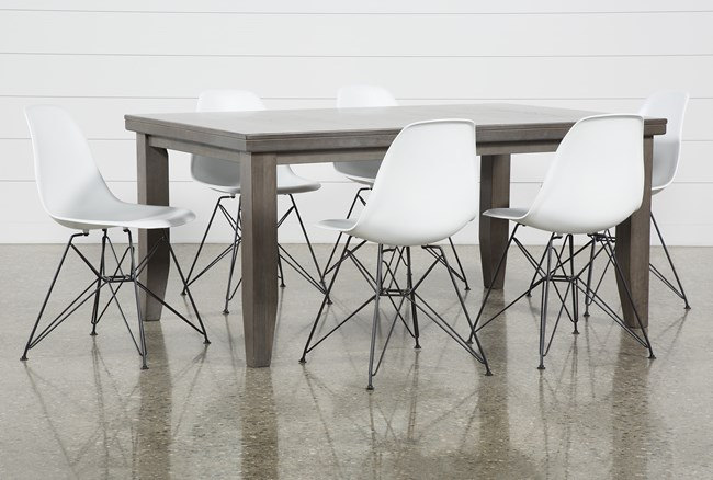 Ashford 7 Piece Dining Set With Alexa White Chairs - 360