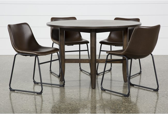 Grady Round 5 Piece Dining Set With Cobbler Chairs - 360