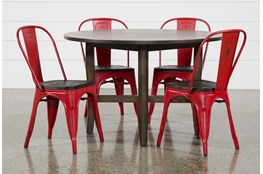 Grady Round 5 Piece Dining Set With Delta Red Chairs
