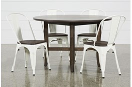 Grady Round 5 Piece Dining Set With Delta White Chairs