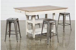 Westshore 5 Piece Counter Set With Radical Silver Stools