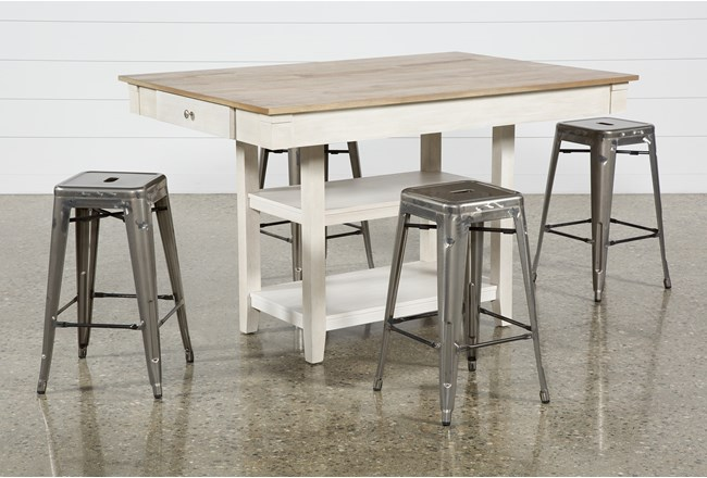Westshore 5 Piece Counter Set With Radical Silver Stools - 360