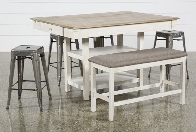 Westshore 6 Piece Counter Set With Radical Silver Stools - 360
